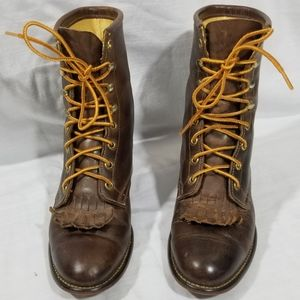 Laredo Laceup Leather Boots Size 8M